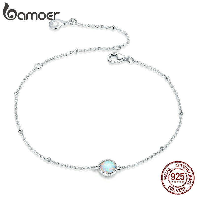 bamoer Gorgeous Opal Link Chain Bracelet for Women 925 Sterling Silver Bracelets with silver Charms Anniversary Gifts BSB054
