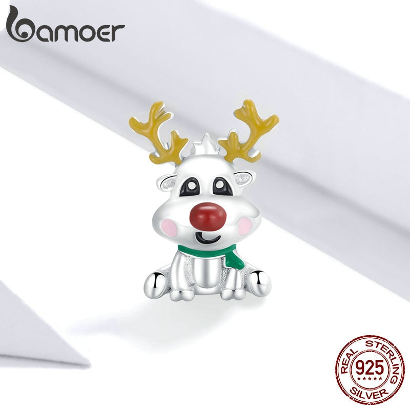 bamoer Cute Reindeer Metal Beads for Women 925 Sterling Plated Silver Charm Beads Jewelry Making for Bracelet Bangle GAC375