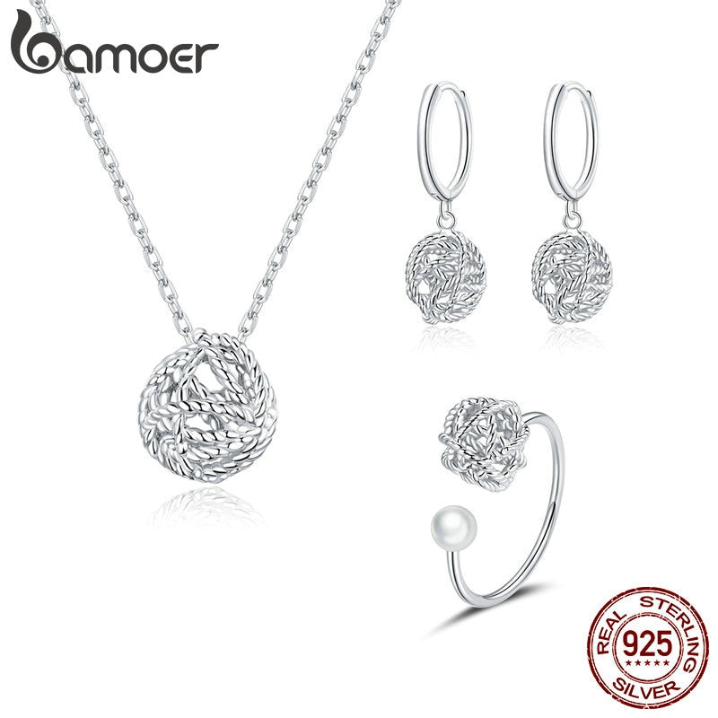 bamoer Genuine 925 Sterling Silver Ball of yarn Chain Clip Earrings and Necklace Jewelry Sets for Women 2020 christmas ZHS221
