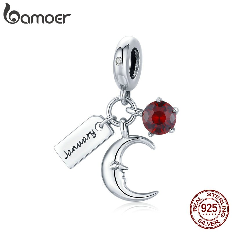 bamoer 925 Sterling Silver  January Birthstone Charm fit Original Bracelets & Bangle Beads Fine DIY Jewelry Charm make SCC1719