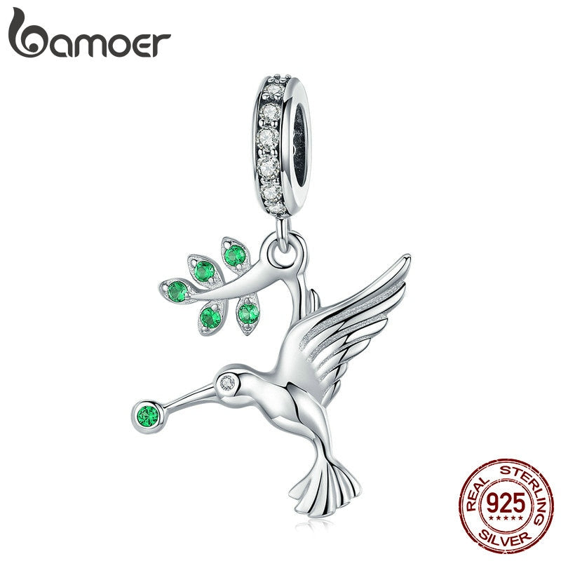 BAMOER 925 Sterling Silver Bird Hummingbirds Pendant Animal Bird Charms Fit for Charm Bracelets & Bangles Silver Jewelry SCC982