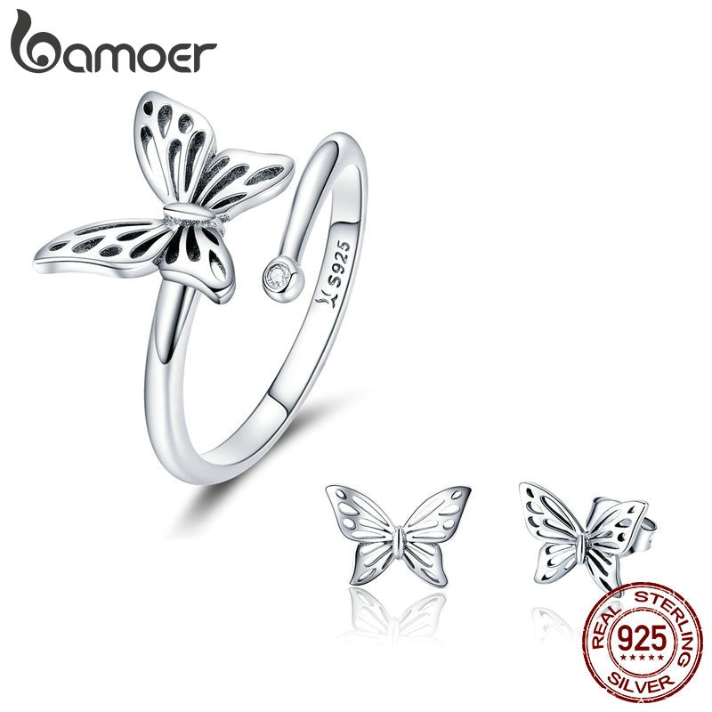 BAMOER Authentic 925 Sterling Silver Jewelry Set Vintage Butterfly Rings & Earrings Jewelry Sets Wedding Engagement Jewelry
