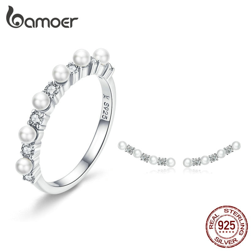 BAMOER Pearl Jewelry Sets 925 Silver Stackable Finger Ring and Earrings for Women Elegant Fine Jewelry Female Gifts ZHS116