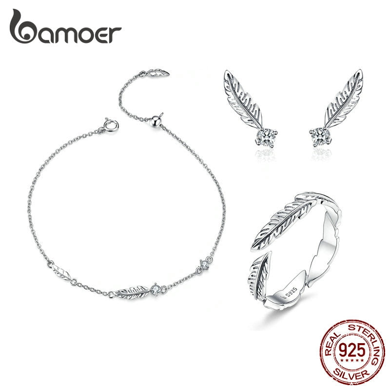 BAMOER Jewelry Sets 925 Sterling Silver Bohemia Summer Feather Bracelet Earrings Finger Rings for Women Jewelry Gifts ZHS115
