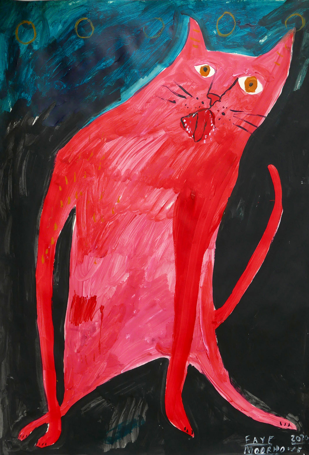 Pink Cat by Moonlight
