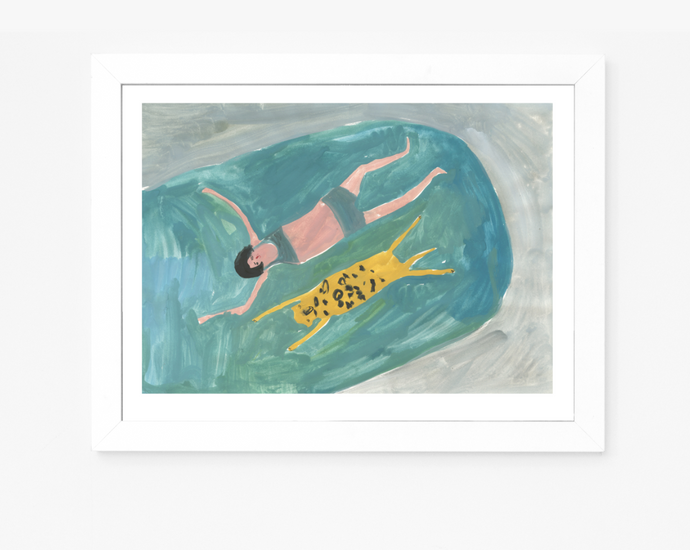 Hyena and Girl Swimming | Giclee Art Print