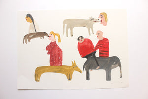 Humans and Beasts - Original Faye Moorhouse collage painting illustration