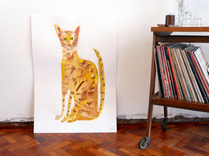 Original Faye Moorhouse painting - YELLOW CAT-  free worldwide shipping