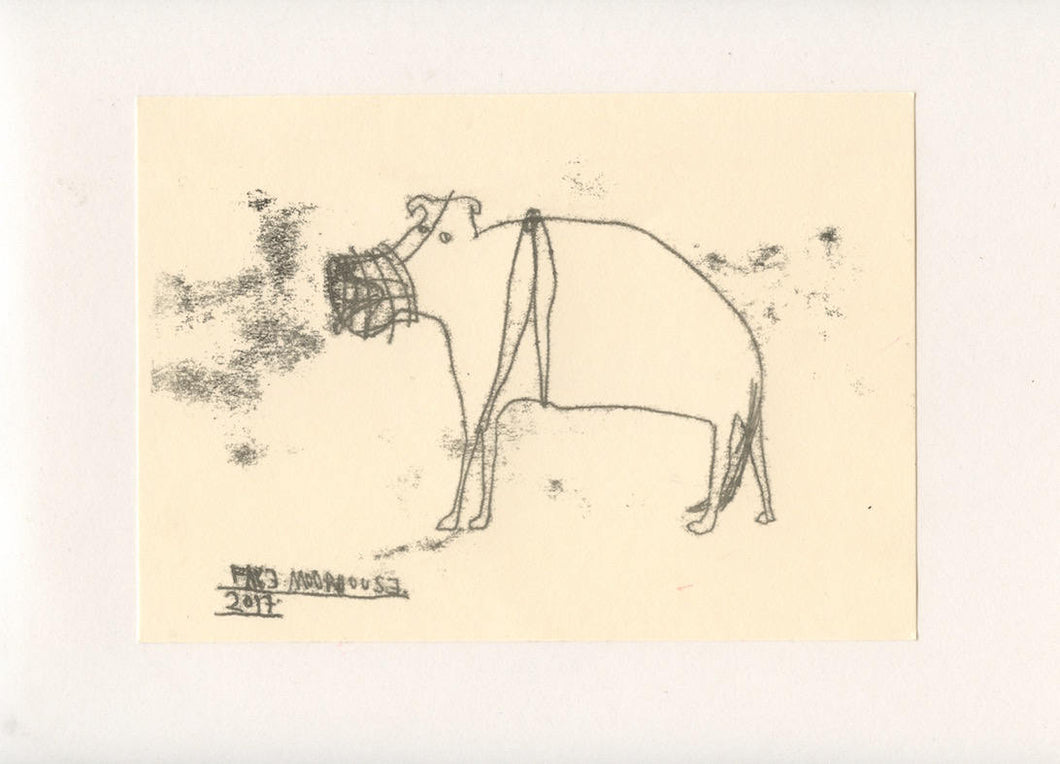 FIERCE DOG 12 - A Mono Print - Original Faye Moorhouse Illustration drawing art