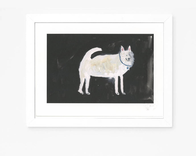 Limited Edition Hand Finished Art Print || A White Dog at Midnight || FAYE MOORHOUSE