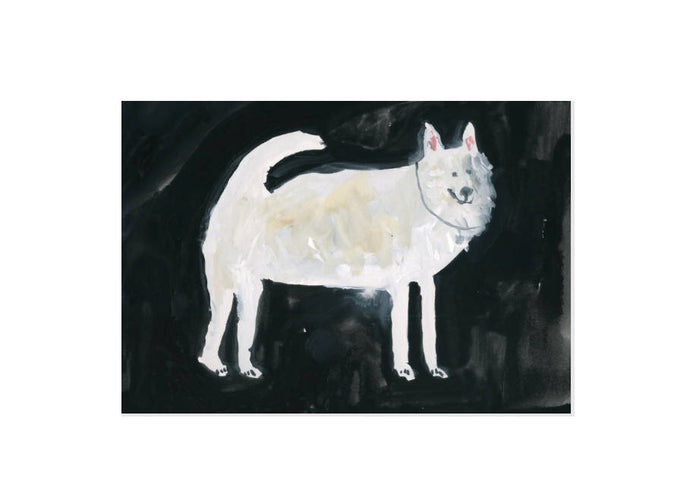 A White Dog at Midnight - Greetings Card