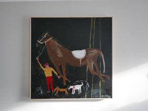 Man, Horse and Three Dogs || Painting on Canvas || Faye Moorhouse