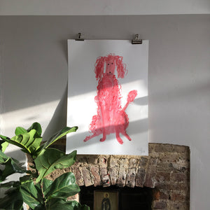 Original Faye Moorhouse painting - Giant Pink Poodle 006 - FREE SHIPPING