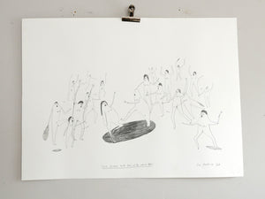 They Fought with Forks and 5p Carrier Bags | Drawing on paper | Faye Moorhouse