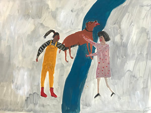 Women and their dogs - A Helping Hand | original Faye Moorhouse painting
