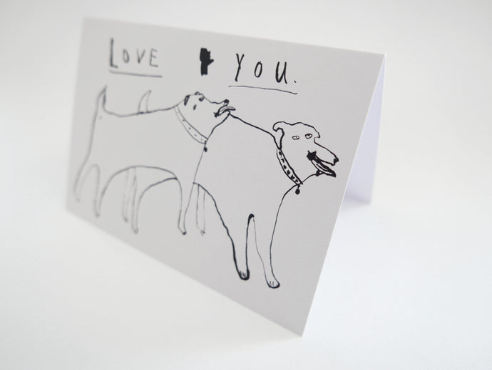 Love You - Dogs in Love - Greetings Card