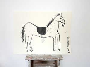 Original Faye Moorhouse drawing - A Horse - Ink on paper