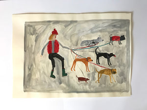 Women and their dogs - walking with friends | original Faye Moorhouse painting