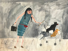 Women and their dogs - Shopping with Friends | original Faye Moorhouse painting