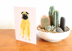 Pug greetings card - Funny quirky unusual greetings card