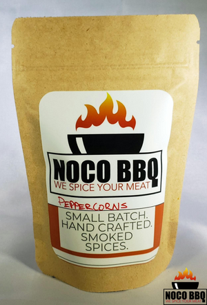 nocobbq smoked peppercorns bag with label