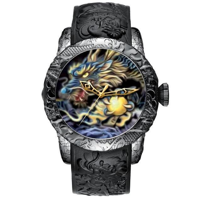 Relógio Megalith Gold Dragon Sculpture Masculino - iClock