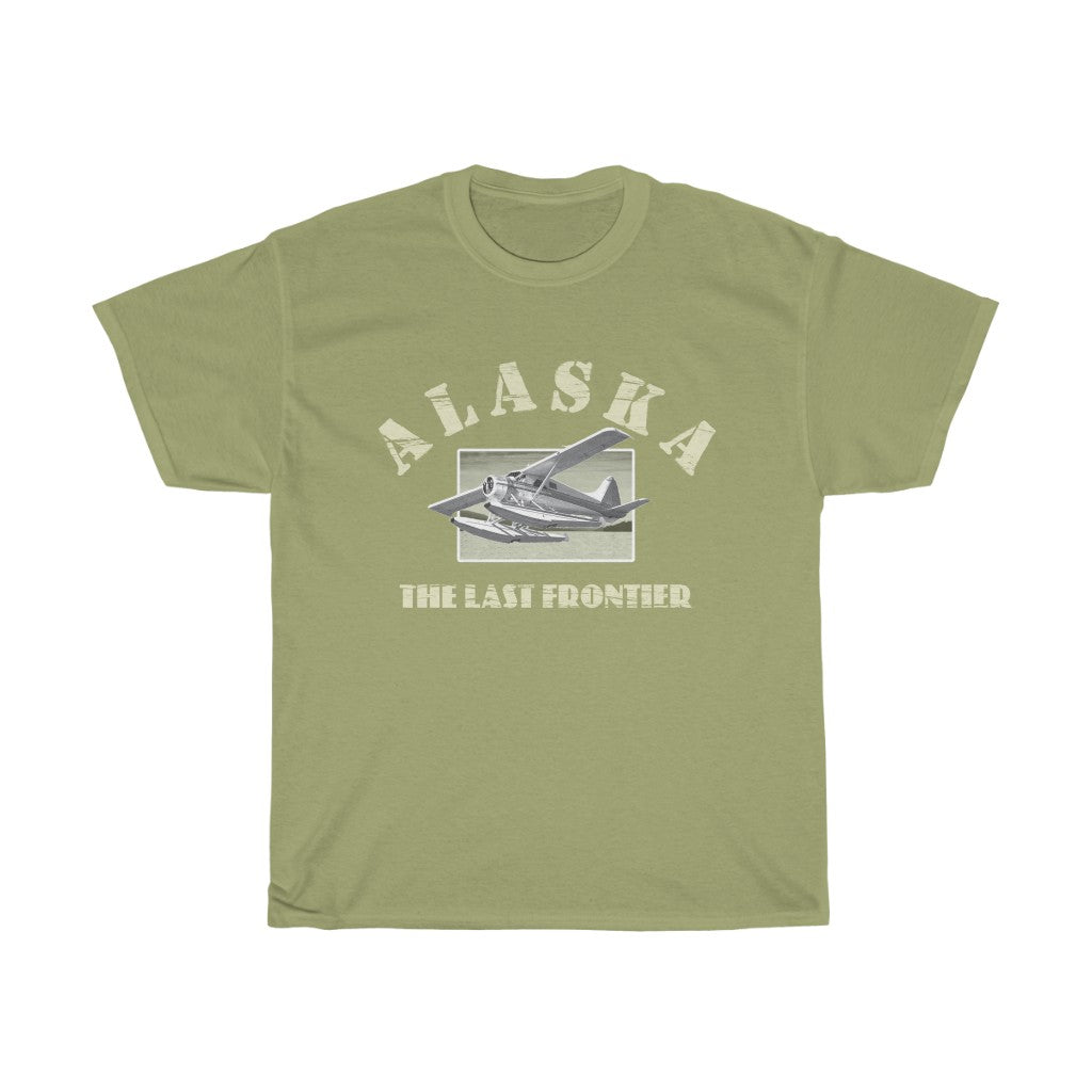 Alaska, The Last Frontier -- Unisex Heavy Cotton Tee - Alaska Bush Plane DeHavilland Beaver