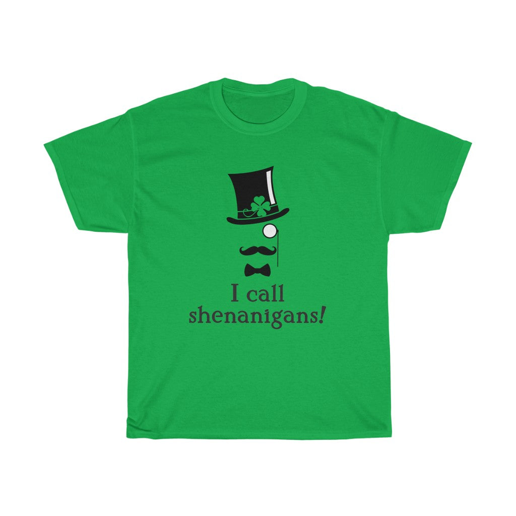 Special St Patricks Day Shamrock Edition - Unisex Heavy Cotton Tee - I call shenanigans - funny art deco design t-shirt top-hat st patricks