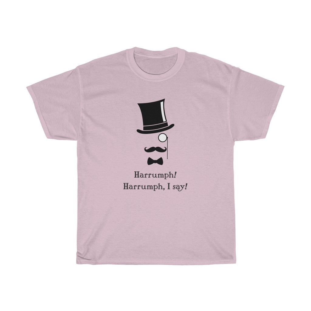 Harrumph! Harrumph, I say! - Unisex Heavy Cotton Tee - Art Deco era design funny t-shirt top-hat victorian retro