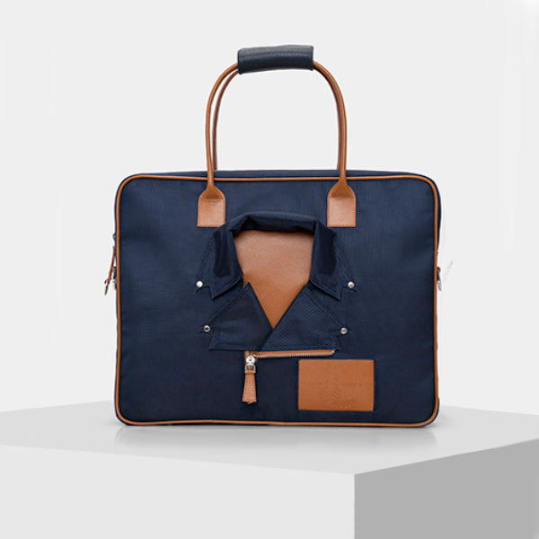 Blue and Tan Laptop Bag
