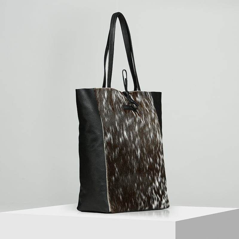 Leather shopper bag - DARK BROWN