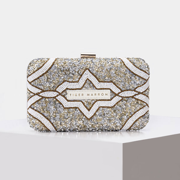 Clutch Bags - WHITE SILVER & GOLD