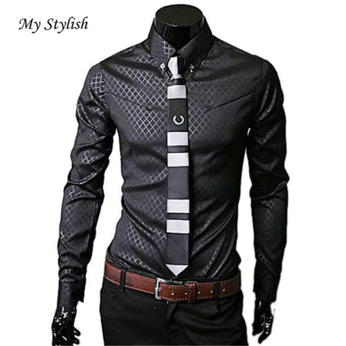 Men Fashion Luxury Business Stylish Slim Fit Long Sleeve Casual Shirt Plus Size Autumn Casual Shirts Office Men Clothing Dec 19