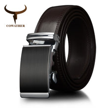Load image into Gallery viewer, COWATHER Cow Leather men belts Gold Automatic Ratchet Buckle Fashion Luxury Dress belts for men Waist 30-44 BROWN BLACK CZ049