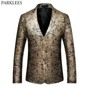 Luxury Blazer Men 2017 Brand Golden Pailsey Floral Mens Blazers Casual Single Breasted Slim Fit Male Suit Jacket Costume Homme