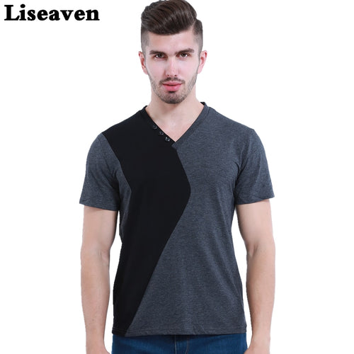 Liseaven Mens V Neck T-Shirts Luxury Casual Slim Fit Stylish Short Sleeve T Shirt Men T-shirt Men Tops M L XL 2XL 3XL 5XL