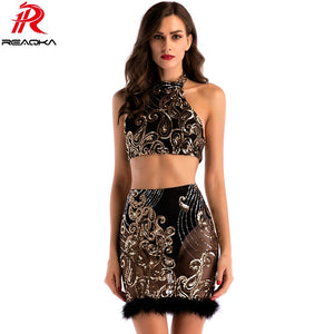 2018 Sexy Women Two Two Piece Sequins Summer Dress Plush Black Gold Backless Bodycon Luxury Nightclub Party Dresses Vestidos