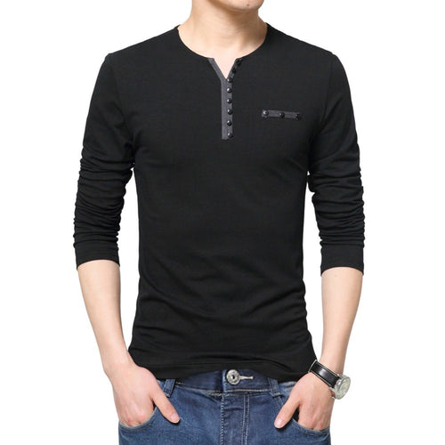 2017 Fashion Mens Slim Fit Long Sleeve T Shirt Stylish Luxury Men V Neck Cotton T-Shirts casual Tops Tee Size L-4XL Drop Ship