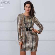 Load image into Gallery viewer, ADYCE 2018 Summer dress luxury Celebrity Runway Dress black O-Neck long sleeve Sequins striped mesh Women Bodycon Dress Clubwear