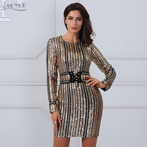 ADYCE 2018 Summer dress luxury Celebrity Runway Dress black O-Neck long sleeve Sequins striped mesh Women Bodycon Dress Clubwear