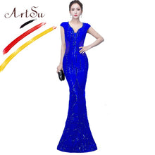 Load image into Gallery viewer, ArtSu Luxury Sequin Beading Black Prom Gown Party Dress Long Women Sexy Mesh Wrap Floor-Length Mermaid Dress Robe De Soiree Red