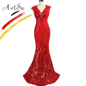 ArtSu Luxury Sequin Beading Black Prom Gown Party Dress Long Women Sexy Mesh Wrap Floor-Length Mermaid Dress Robe De Soiree Red