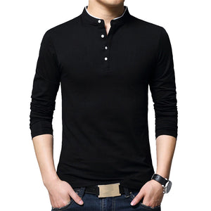 BROWON Brand Autumn Casual Mens T Shirts Fashion 2018 Sold Color Mandarin Collar Long Sleeve T-Shirt Luxury Plus Size M-5XL