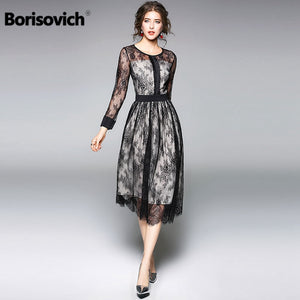 Borisovich Luxury Black Lace Women Dress New Arrival 2018 Spring Fashion O-neck Elegant Slim Ladies Evening Party Dresses M086