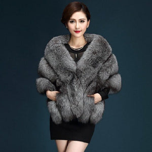 2017 Winter Faux Fur Coats luxury fox fur imitation mink fur poncho bridal wedding dress shawl cape women vest fur coat wj1572