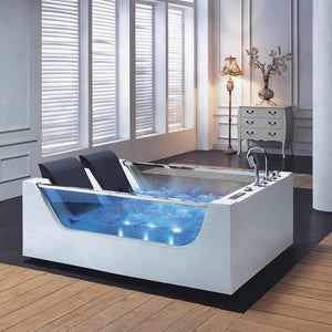 Luxury 2 person hydromassage bathtub, massage bathtub with pillow