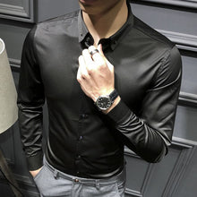 Load image into Gallery viewer, Loldeal Men's Slim Fit Silk Like Satin Luxury Dress Shirt Silk Long Sleeve Button-Down Shirt Formal Work Silky Blouse Top