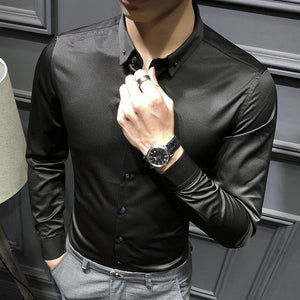 Loldeal Men's Slim Fit Silk Like Satin Luxury Dress Shirt Silk Long Sleeve Button-Down Shirt Formal Work Silky Blouse Top