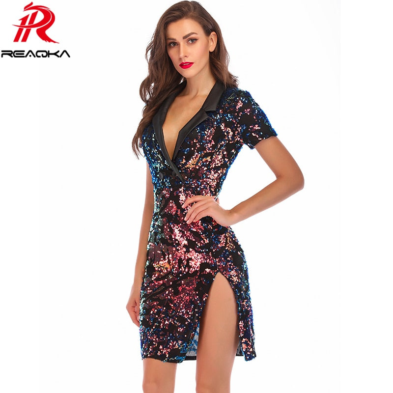 Fashion Sexy Summer Sequin Dress Women Befree vestidos 2018 Notched Colorful Bling Luxury Nightclub Womens Party Dresses clothes