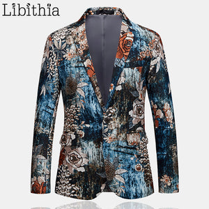 Men One Button Blazers Cotton Floral Print Luxury Design High Quality Dress Wedding Casual Jacket Big Size 6XL Clothes Male T203